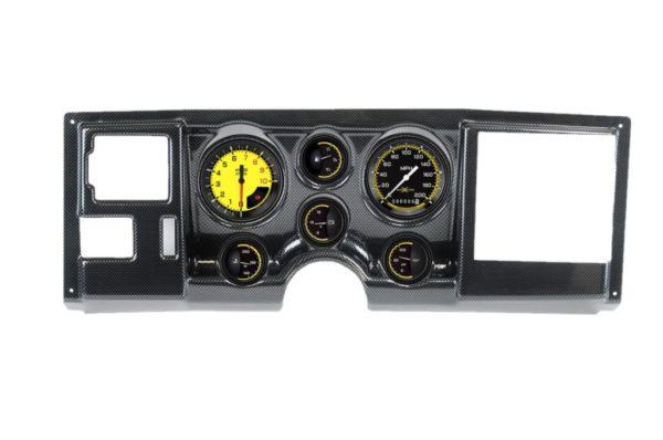 1988-94 Chevy / GMC Truck Carbon Fiber Dash Panel with AutoCross Yellow Gauges