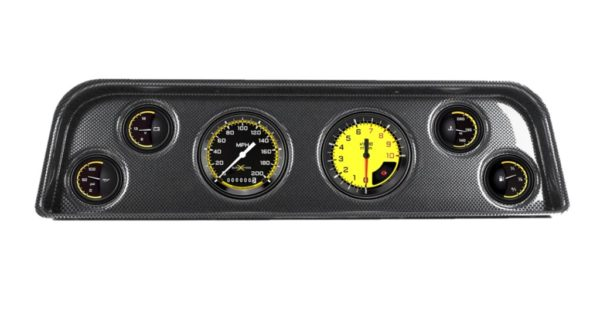 1965-66 GMC Truck Carbon Fiber Dash Panel with AutoCross Yellow Gauges