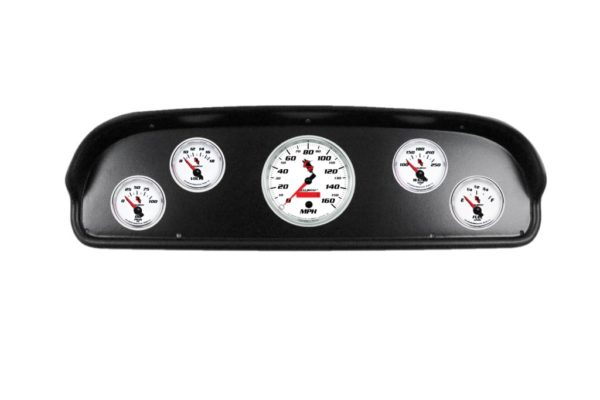 1957-60 Ford Truck Black Dash Panel with C2 Electric Gauges