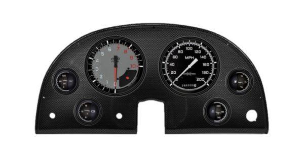 1963-67 Corvette Carbon Fiber Dash Panel with Autocross Gray Gauges