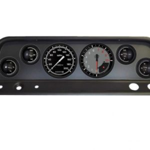 1965-66 Chevy Truck Black Dash Panel with AutoCross Gray Electric Gauges