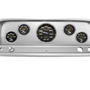 1965-66 Chevy Truck Brushed Aluminum Dash Panel with Carbon Fiber Electric Gauges