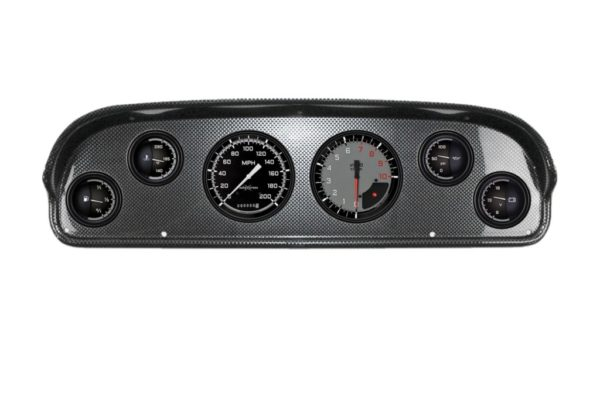 1957-60 Ford Truck Carbon Fiber Dash Panel with AutoCross Gray Gauges