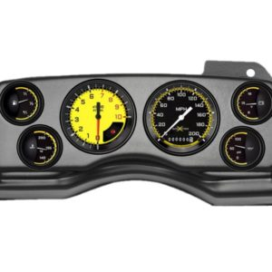 1990-93 Ford Mustang Black Dash Panel with AutoCross Yellow Gauges