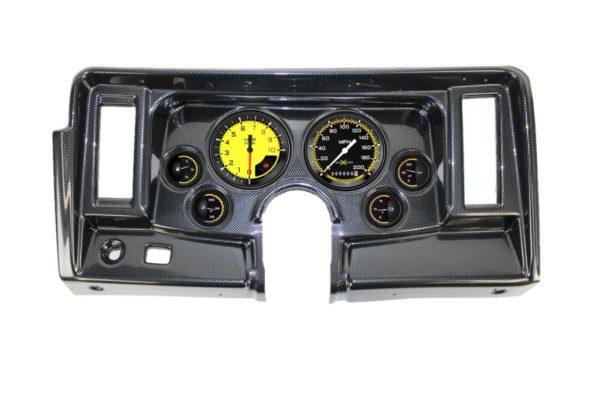 1969-76 Nova Carbon Fiber Dash Panel with AutoCross Yellow Gauges
