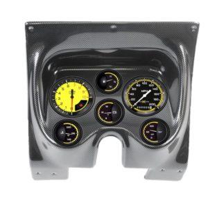 1967-68 Pontiac Firebird 6 Gauge Dash Panel - Carbon Fiber, Autocross Yellow