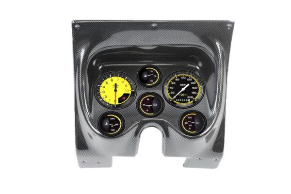 1967-68 Firebird Carbon Fiber Dash Panel with Autocross Yellow Gauges