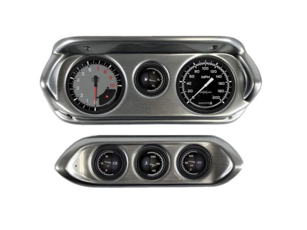 1962-64 Chevy II / Nova Brushed Aluminum Dash Panel with AutoCross Gray Gauges
