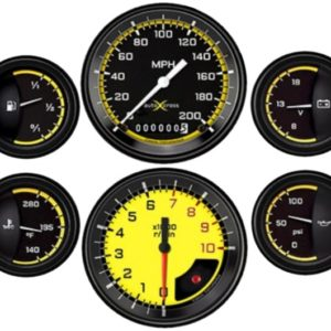 Classic Instruments AutoCross Yellow Electric 6 Gauge Set